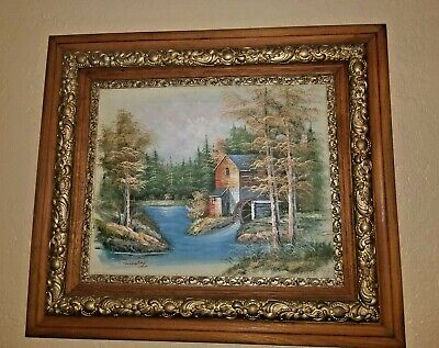 Vintage OAK PICTURE FRAME. with Oil Painting 29 x 25.5