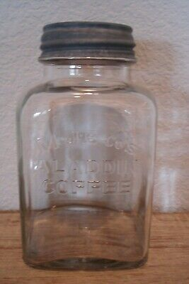 Vintage Antique MJB Aladdin Glass Coffee Jar Ball Zinc Lid NICE!
