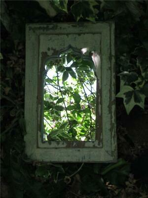 Beautiful Vintage Solid Wood Framed Mirror In Original Distressed Paint Finish