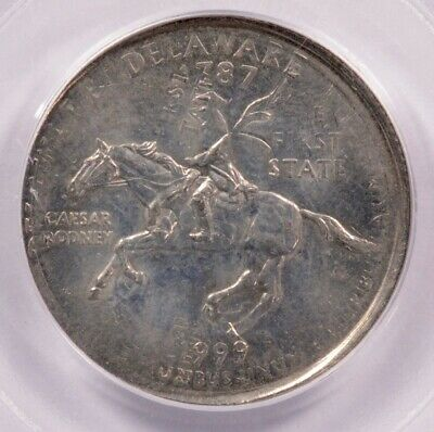 PCGS 25c 1999-P Delaware Quarter Double-Struck Rotated In-Collar MS61