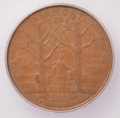 ICG 25c 2001-D Vermont Quarter Reverse Missing Clad Layer AU58 BN