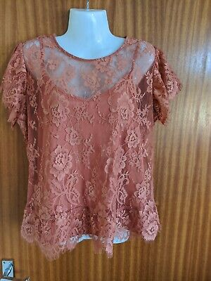 M&S Cinnamon 2 Part Set Lace Short Sleeve Floral Top Camisole Summer Size 16