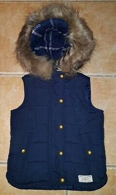 JOULES DESIGNER GIRL'S FRENCH NAVY PADDED GILET BODY WARMER 5Y 110cm EXCELLENT