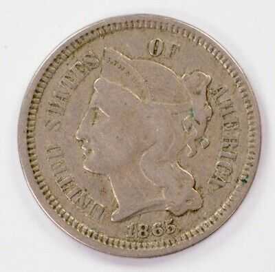 3CN 1865 Three Cent Nickel Retained Cud Reverse 5 o'clock VF