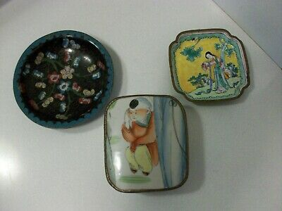 Vtg Lot Chinese Cloisonne Trays And Asian Porcelain Covered Box With Boy Figure