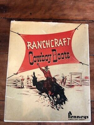 Vintage Cowboy Boots Western Store Display Advertisement Artwork Box Empty
