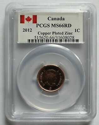 2012 Copper Plated Zinc CANADA 1 CENT PCGS MS 66 RD KM# 490
