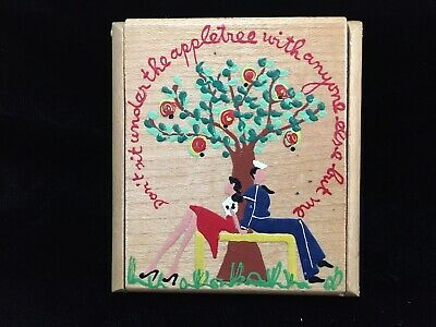 Vintage Wood Wooden Powder COMPACT Sailor & Girl Couple Painted WWII Homefront