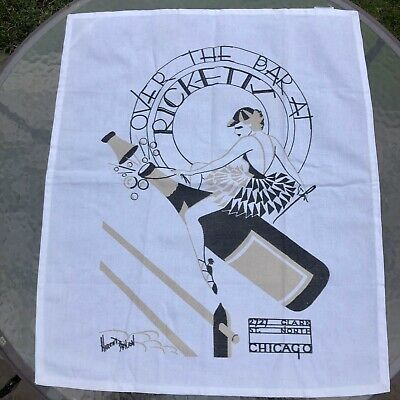 Vintage Deco Style 'Over the Bar at Ricketts' Woman Jockey Champagne Linen Towel
