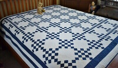 Antique Hand Stitched Blue & White Fifteen Patch Quilt