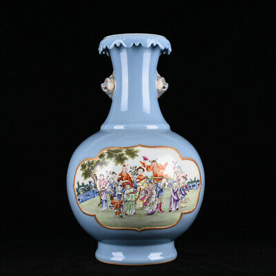 "17.3"" Qianlong marked blue glaze famille rose Porcelain twelve flower god vase"