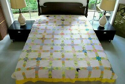 """Vintage Feed Sack Hand Pieced LAZY DAISY Springtime Blossoms Quilt TOP 83"""" x 72"""""""