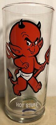 Rare Hot Stuff Harvey Cartoons Collector's Glass With Button Bottom