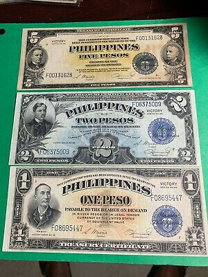 1944 (Nd) Philippines 1-2-5 Peso Victory Series 66 Notes As Pictured, Nice