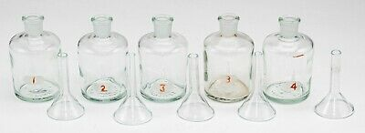 Five Small Neutraglas Glass Laboratory Bottles and Glass Funnels