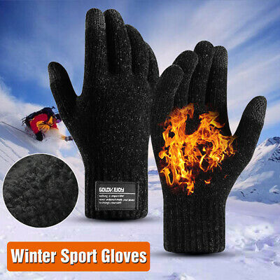 Men Winter Sport Gloves Warm Windproof Anti-slip Thermal Touch Screen Mittens