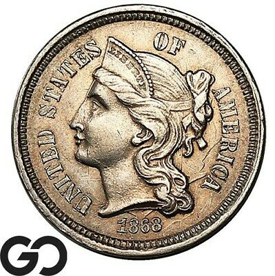 1868 Three Cent Nickel, Choice Uncirculated++ Collector Coin