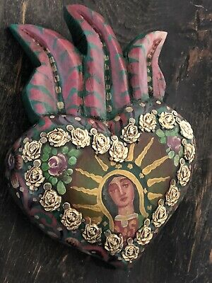 Painted Milagros SACRED HEART, Virgin Guadalupe Heart with Rose Charms
