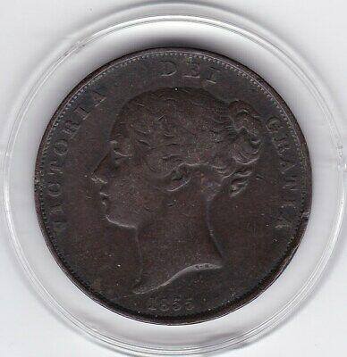 1855  Queen  Victoria  Large  Penny  Copper  Coin