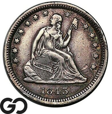 1843 Seated Liberty Quarter, Scarce Choice XF Early Collector Coin!