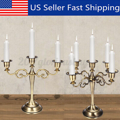 3/5 Arms Metal Crafts Candelabra Alloy Candle Holder Stand Wedding Home  B