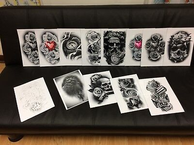 tattoo flash set 1. A4 size black and grey 10 laminated sheets . with linework!