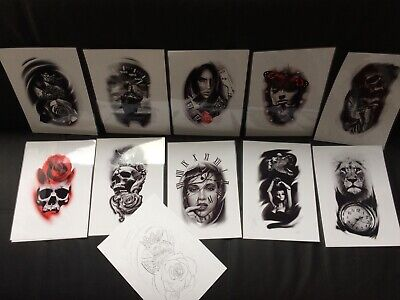 Tattoo Flash Set 4. A4 Size Black And Grey 10 Laminated Sheets With Line work