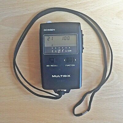 Gossen Multisix Light Meter with leather case and instruction manual.
