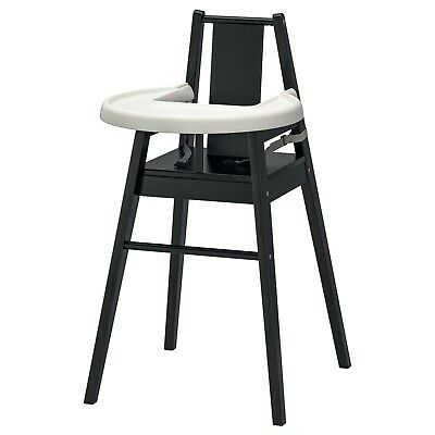 IKEA Blåmes Wooden Baby High Chair With Tray, Black (Excellent Condition)