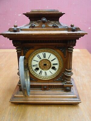 SMALL ANTIQUE 1920's WALNUT CASED GOTHIC MANTLE CLOCK PROJECT WURTTENBERG MAKER