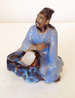Vintage Shiwan Mudman Ceramic Chinese Man Stature Figurines 5 Ins Tall