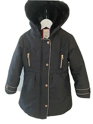 Girls Black & Gold Ted Baker Coat With Hood/Faux Fur Collar Age 6