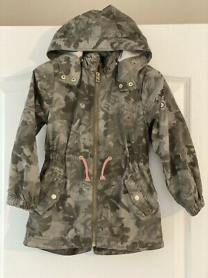 Girls Camouflage Floral Print Khaki & Pink Jacket with Hood H&M Age 5-6 Years