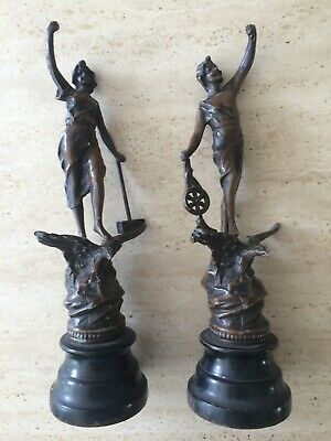 """Pair of Vintage Spelter Figurines """"Le Commerce"""" and """"L'industrie"""""""