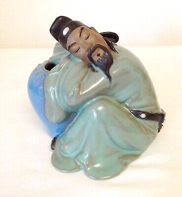 Vintage Chinese Man Shiwan Mudman Figurine Stature Ceramic  6 Ins Tall