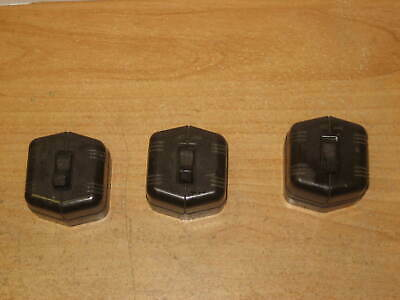 Vintage Bakelite Toggle Single-Pole Light Switch, Brown, Square - Lot of 3