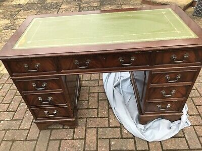 Antique Vintage Green Leather Top Mahogany Twin Pedestal Knee Hole Writing Desk