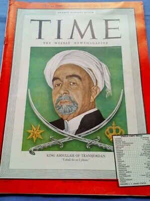 Rare TIME Magazine 1948, King Abdullah Transjordan, Vintage, Collectors,Mid East