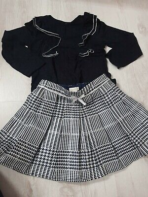 Monsoon Girls Skirt Outfit Age 3-4 Navy And Silver Birthday Party