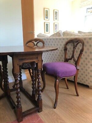 Antique Yew Drop Leaf Oval Dining Table With Four Chairs
