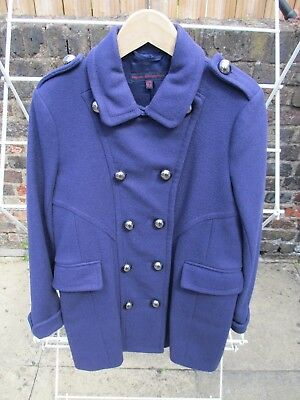 Girls FRENCH CONNECTION Purple Wool Mix Military Style Coat Age 10 -11