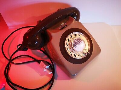 Vintage GPO 746 Retro Rotary Telephone Light Brown (Greige) & Brown, Working.