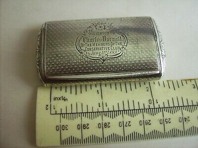 Hallmarked Sterling Silver Victorian 1889 Snuff Box Engine Turned Condition A