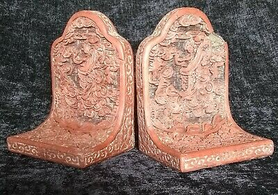 CHINESE CINNABAR BOOK END'S CARVED WITH DANCING FIGURES c19TH CENTURY