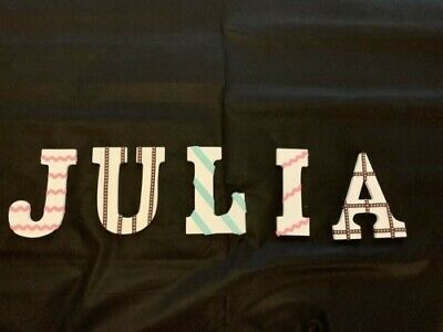 """9"""" Decorative letters - white wood with ribbon highlights spelling Julia"""