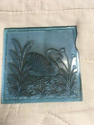 Antique Addison Glass Company Window Pane Blue Swan Pressed Glass Tile