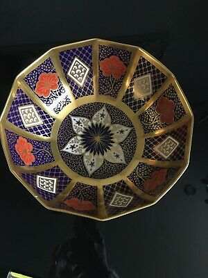 Vintage 26cm Caverswall Romany Bowl Dodecahedron In Shape Decorated In 24ct Gold