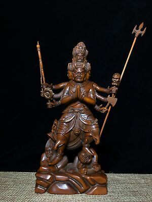 Collectable Old Boxwood Hand-Carved Superhuman Buddha Auspicious Exorcist Statue