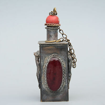 Collect Old Bronze Armour Agate Hand-Carved Myth Animal Bring Luck Snuff Bottle