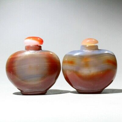 Collectable China Agate Hand-Carved A Pair Of Smooth Beautiful Chic Snuff Bottle